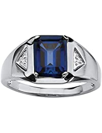 Men's Emerald-Cut Blue Lab Created Sapphire Diamond Accent Platinum over .925 Silver Ring