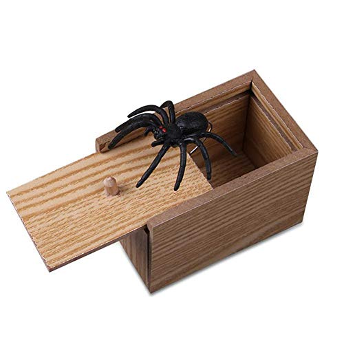 Gracefulvara Funny Prank Spider Wooden Scare Box Home Office Joke Gag Toy (2#) -