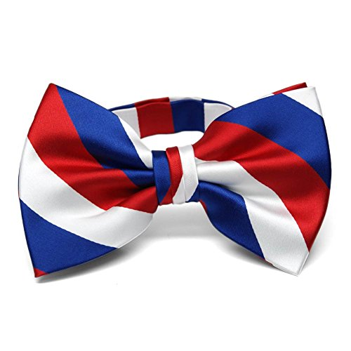 TieMart Red, White and Blue Striped Bow