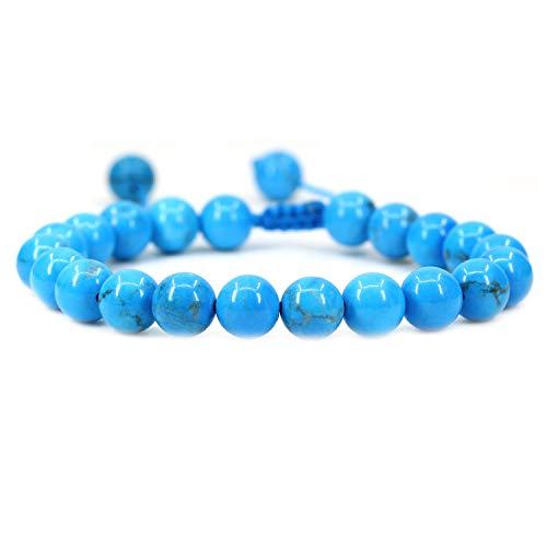 AMANDASTONES Natural Turquoise Howlite Gemstone 8mm Round Beads Adjustable Braided Macrame Tassels Chakra Reiki Bracelets 7-9 inch Unisex
