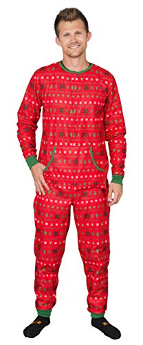 Custom Add Your Text Adult Butt Flap Christmas Pajama Union Suit (Red, Medium)