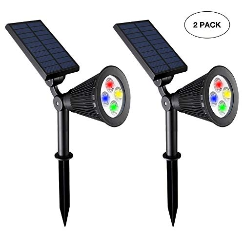 Mayshen Rainbow Color Changing Solar Spotlights Outdoor Waterproof 4 LED Adjustable Auto On/Off Outdoor Landscape Light for Yard Pool Garden Garage Driveway Deck
