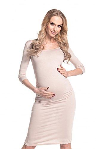 Happy Mama - Vestido de premamá, cintura fruncida, elástico, 939p crudo