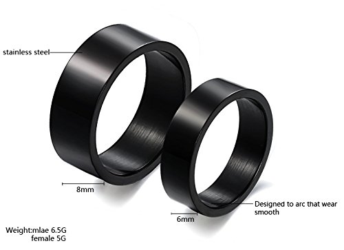 Black Wedding Band Stainless Steel Finger Ring Bands Couples Promise Rings 8mm for Men and 6mm for Women (Women, 7)
