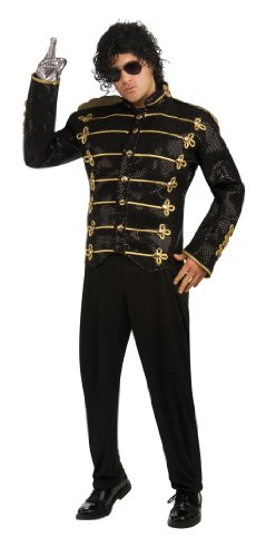 Michael Jackson Deluxe Military Jacket, Black, Large Costume (Michael Jackson Adult Costumes)