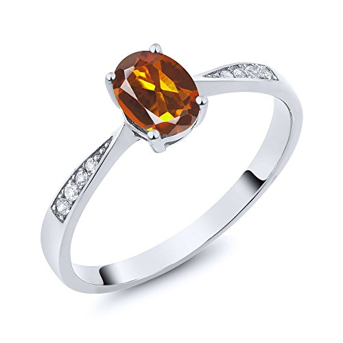 10K White Gold Diamond Ring with 0.76 Ct Orange Red Madeira Citrine (Ring Size 6)