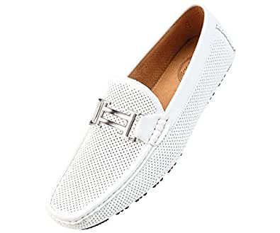 Amali Mens White Perforated Smooth Driving Loafer Shoes with Silver Double Bar Ornament: Style 1052-007