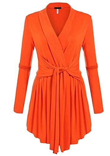 Lunga Fit Festiva Manica Al Monocromo Cappotto Vintage Outerwear Primaverile Orange Unique neck V Stlie Donna Casuale Giacca Autunno Giaccone Irregolare Nodo Slim 7qnwExC4H