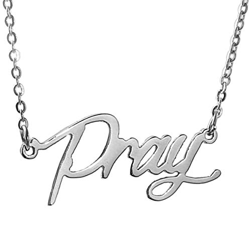 HUAN XUN Nameplate My Name Pendant Necklace Silver, Pray