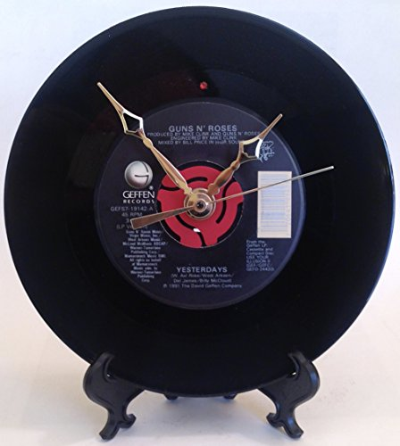 Record Clock - Recycled GUNS 'N ROSES Vinyl 45 rpm - Song: Yesterdays