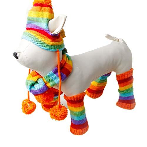 - SENERY Winter Pet Dog Clothing Coat,Stripe Knitted Hat Scarf Dog Coat Warm Clothe Dog Coats Jackets Pet Products