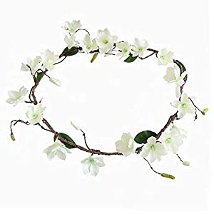 FightingFly 71 inch White Artificial Magnolia Flowers, Magnolia Wreath Silk Flower Garland Green Leaf Vine for DIY Craft Party Wedding Home Table Floral Decor 12