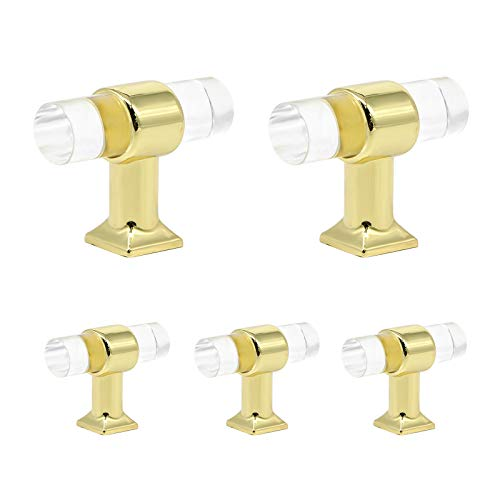 - Acrylic Knobs Gold Clear Cabinet Hardware Drawer Pulls Handle Single Hole T Bar Pull 40mm 1 3/5