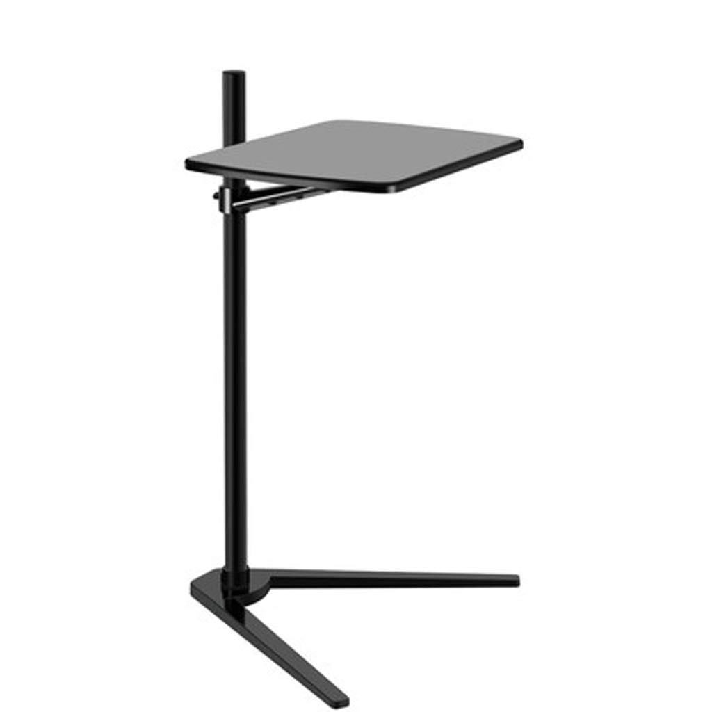 LYR Metal Element Minimalist Style Height Adjustable Table,Snack Table with Wood Finish and Steel Construction for Coffee,Snack,Tablet, (Color : Black) by LYR