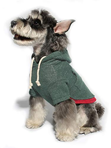 Gyapet Dog Sweater Dog Hoodie Christmas for Small Pets Red Shirt Winter Warm Outfits Cloth Pet Puppy Green L