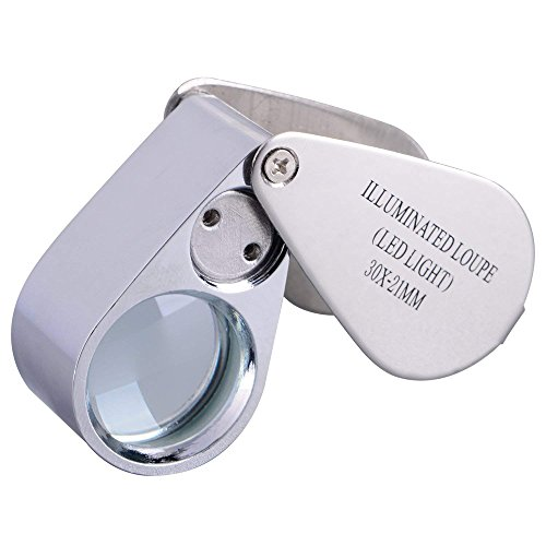 Folding Illuminated 30X Magnifier with 2 LED Light Reading Jewelry Eye Small Handheld Magnifying Professional Loupe Glass by ITODA (Image #7)