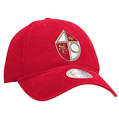 San Francisco 49ers Felt Throwback Logo Red Slouch Adjustable Snapback Hat / Cap
