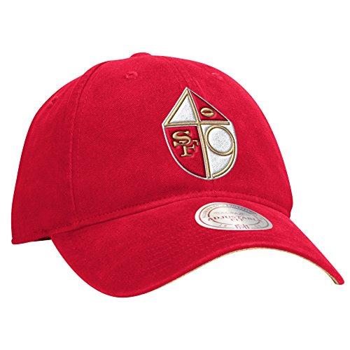 (Mitchell & Ness San Francisco 49ers Felt Throwback Logo Red Slouch Adjustable Snapback)