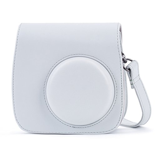 (Phetium Smokey White Soft PU Leather Protective Case with Shoulder Strap and Pocket Compatible with Fujifilm Instax Mini 8 8+ / Mini 9 Instant Camera (Smokey White))