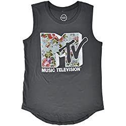 MTV Music Television Floral Print Logo Womens Tank Top in Charcoal. S-2XL.