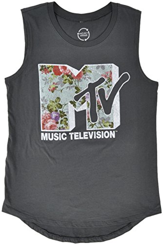 Mtv Music Television Floral Print Logo Womens Tank Top In Charcoal  S 2Xl