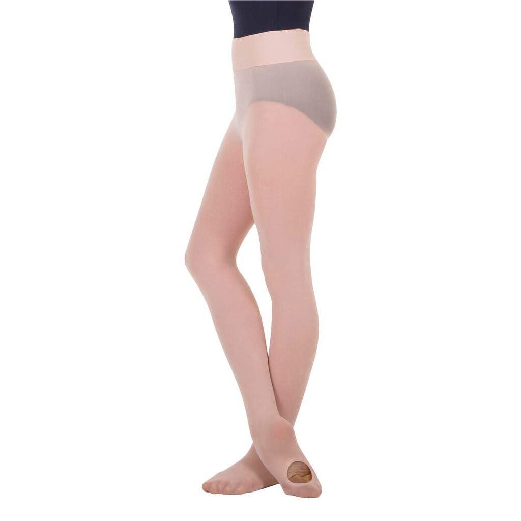 BodyWrappers Girl's Wide Smooth Waist Convertible Tights (Theatrical Pink, Medium/Large) - C41 by Body Wrappers