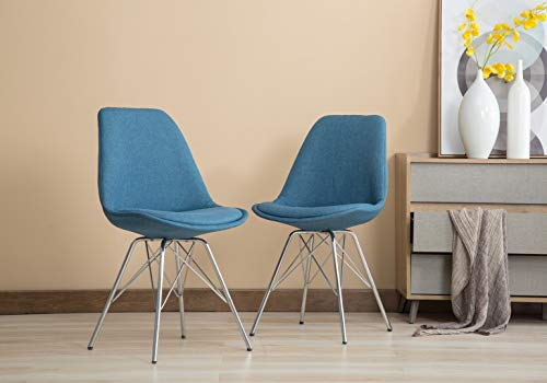 Porthos Home LVC017A BLU Set of 2 Upholstered Chrome Metal Legs and a Striking Blue Fabric an Eames Style Chair for Living Dining Room Furniture Size 34 x 19 x 22 inches, One
