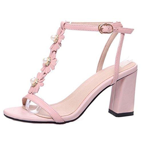 COOLCEPT Mujer Moda Correa En T Sandalias Tacon Ancho Bombas Zapato Punta Abierta Zapatos Rosado