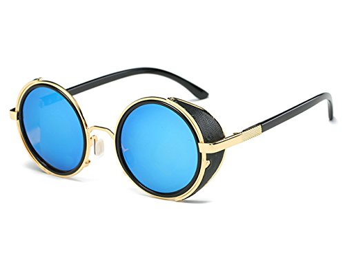 Contact Out Lenses Blacked (LNKRE Unisex Vintage Metal Frame Circular Protective Goggles Sunglasses)
