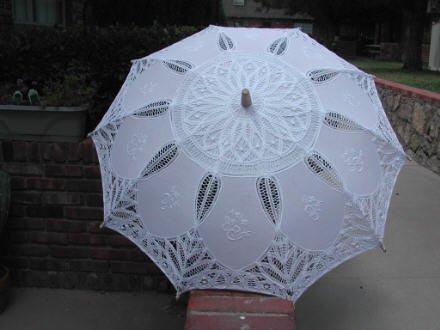 Battenburg Lace Parasol W/embroidery by lace-parasols (Image #1)