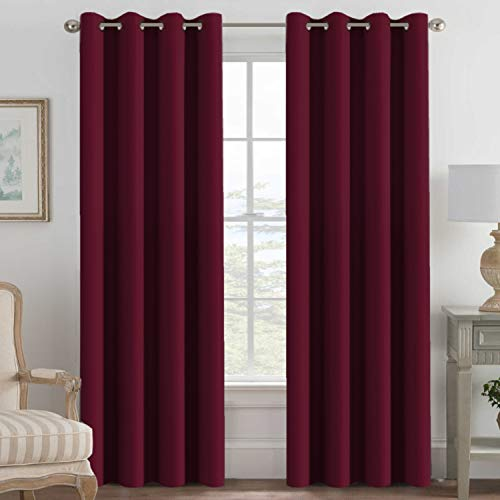 - H.VERSAILTEX Blackout Curtains for Bedroom 84 Inches Length, Thermal Insulated Blackout Window Curtains for Living Room, Christmas Deals Curtain Panels, Antique Grommet - Burgundy Red, One Panel