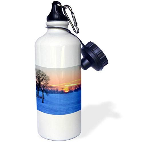 3dRose Dreamscapes by Leslie - Scenery - Winter Sunrise on a Below Zero Morning on an Inland Lake - 21 oz Sports Water Bottle (wb_292232_1) by 3dRose