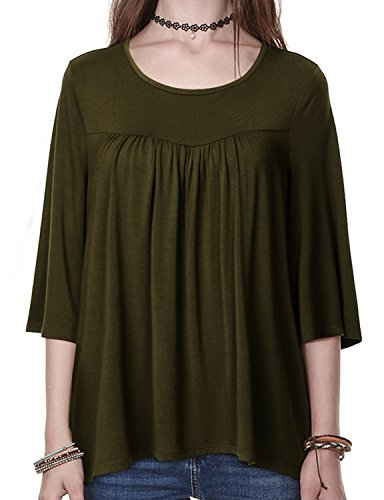 - Regna X Boho for Woman's Shirring Point Stretch Comfortable fit Olive Green Small Round Neck 3 4 Sleeves Babydoll Blouses Tunics t Shirts Tops