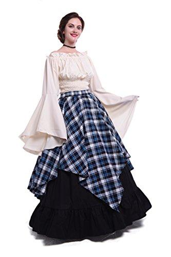Womens Renaissance Medieval Costume Dress Gothic Victorian Fancy Dresses GC229F (Medium, Blue-Plaid&Black)