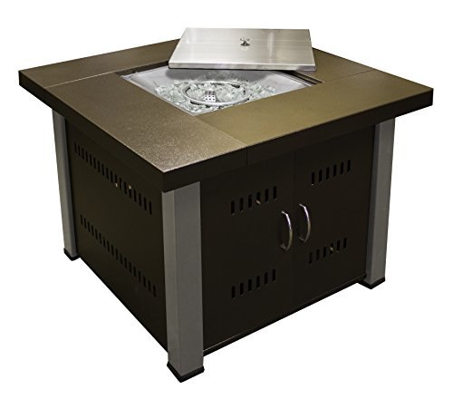 - AZ Patio Heaters Fire Pit, Propane in Two Tone Hammered Bronze and Stainless Steel