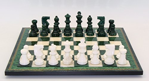 Juego de ajedrez con marco de madera de alabastro en verde / blanco