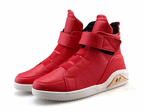 Men Fashion Hip-hop Trainers Autumn Winter High Top Skateboarding Shoes British Style Large Size Sneakers ( Color : Red , Size : 44 )