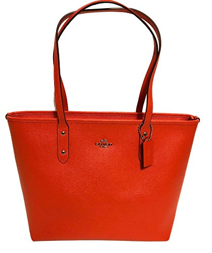 (Coach City Crossgrain Leather Tote (SV/Orange Red))