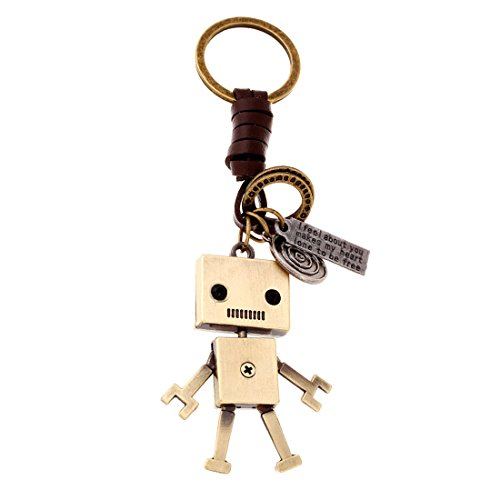Antique Key Charm - JJTZX Antique Bronze Charm Leather Keychain Bag Key Ring Car Keychain for Best Friends (Robot)