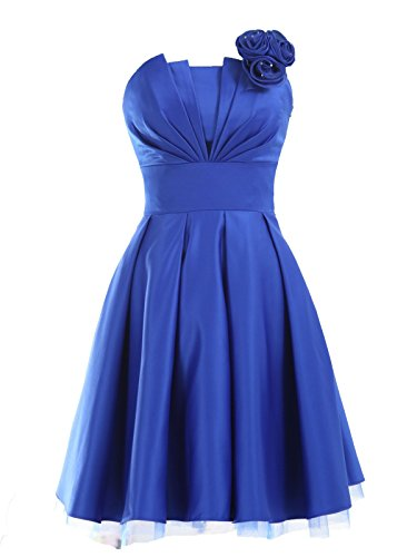 LandyBridal Women's Strapless Pleated Flower Satin Formal Dress Royal Blue XL