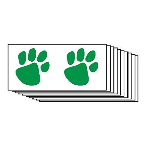 Green Paw Prints Temporary Tattoos (10-Pack) | Skin Safe | MADE IN THE USA| Removable