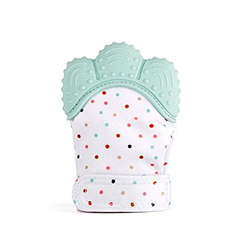 Baby Teething MittenBaby Self-Soothing Pain Relief Silicone Teething Glove for 3-18 months Infant Babies (1PC Mint Green
