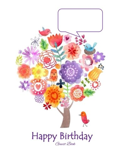 Guest Book: Happy Birthday! Whimsy Tweets Color Guest Book for Parties Home 50th 55th 60th 65th 70th 75th 10th 11th 12th