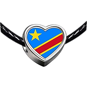 Chicforest Silver Plated Democratic Republic of The Congo flag Photo Heart Charm Beads Fits Pandora Charm