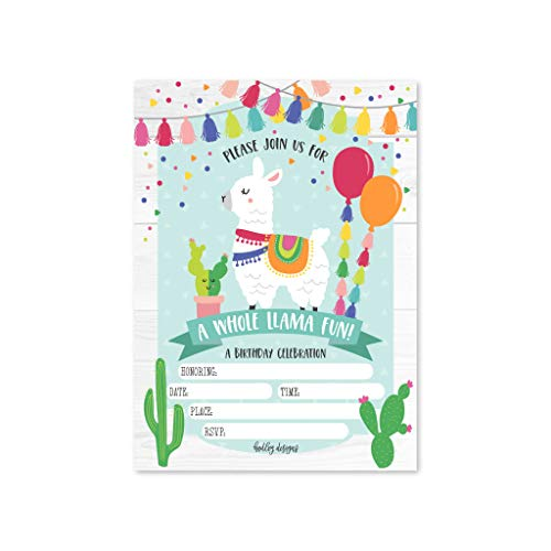 25 Llama Kids Birthday or Fiesta Party Invitations, Boys or Girls Invite, Alpaca Cactus Sleepover Themed, Children or Toddlers Baby First or 1st Bday Theme Supplies, Printed or Fill In the Blank Cards