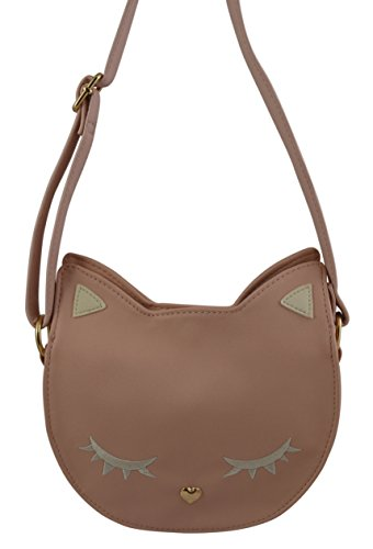 Vegan Leather Clutch Cross Body Handbag Purse with Cat, Fox or Panda Face Design (Blush - Cat Favorite Purse