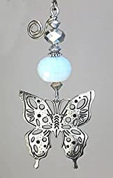 Beautiful Silver Butterfly & Opalite Faceted Glass Ceiling Fan Pull Chain