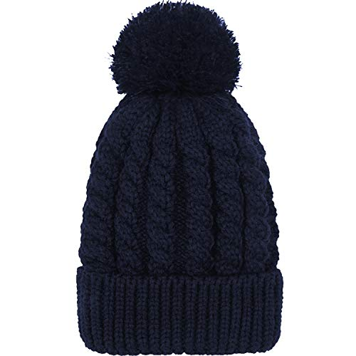 Knit Womens Navy Hat - Women's Winter Beanie Warm Fleece Lining - Thick Slouchy Cable Knit Skull Hat Ski Cap(Navy Blue)