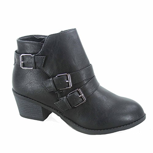 Women's Toe Heel Shoes Low Ankle Buckles Booties Zipper Link Eury Black 4 Fashion Forever Round W1USTnq