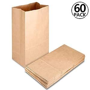 60 pcs Bolsas de Papel Kraft con Base, Rymall Bolsas de Papel Kraft para Alimentos Ideal para Bolsas de Regalo, Bolsas de Fiesta, Calendario de ...